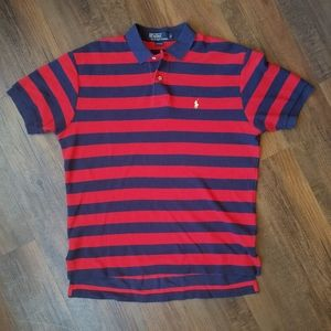 Red and Blue Stripe w/ Yellow Horse Polo